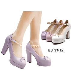 """Please read below before place an order, thank you :)- Please inform us your regular shoes size like this: Regular wear US 9, foot length 25cmSize are standard size, please refer to below size chart and choose the size you usually wear.If your feet are wide, suggest to choose one size up :)Material: made of artificialPU leather and metal Colors: Pink/Purple/WhitePlatform: 2.5cm/0.98""""Heel height: 10cm/3.94""""Foot length options:215 mm=21.5cm=8.46""""220 mm=22cm=8.66""""225 mm=22.5cm=8.85""""230 mm=23cm=9.0 Platform Creepers, Platform High Heels, Cute Shoes For Teens, Kawaii Shoes, Lolita Shoes, Punk Fashion, Beautiful Shoes, Shoe Collection, Things To Buy"""