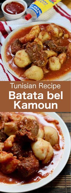Batata bel kamoun is a traditional Tunisian stew prepared with potatoes and beef, and deliciously scented with cumin and harissa. Beef Recipes, Cooking Recipes, Beef Tips, Dip Recipes, Dessert Recipes, Tunisian Food, Tunisian Recipe, Harissa, Arabic Food