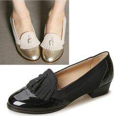 Women's Shoes Low Heels Lace Up Oxford Loafers Flats Black Beige Gold (360)