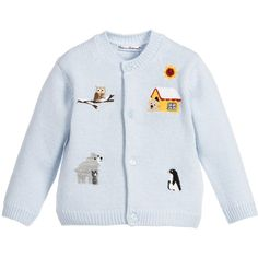 Dolce & Gabbana Baby Boys Blue Cashmere Knitted 'Mimo the Dog' Cardigan at Childrensalon.com