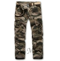 Winwinus Men Vintage Winter Camouflage Oversize Cargo Work Pants