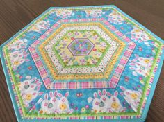 Easter Bunny & Chicks Quilted Spring Hexagon by countrysewing4U