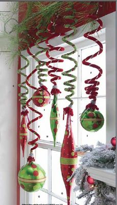 Velvety spiral ornaments that can be stretched to hold balls  finials. Ugly Christmas sweater party decoration.