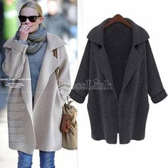 New Korea Womens NEW Long sleeve knitwear Knitted Sweater Top Cardigan Jacket Coat
