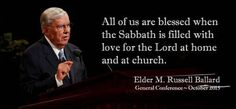 """An important doctrine that we should cling to is to observe the Sabbath day. http://lds.org/topics/sabbath This helps us remain unspotted from the world, provides us with physical rest, and gives each of us spiritual refreshment every Sunday."" From #ElderBallard's http://pinterest.com/pin/24066179230275130 inspiring #LDSconf http://facebook.com/223271487682878 message http://lds.org/general-conference/2015/10/god-is-at-the-helm #ShareGoodness"