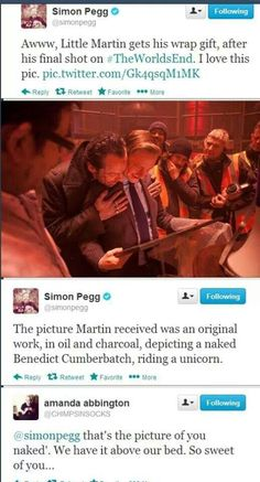So sweet! I find it hilarious the Simon Peggy doesn't ship Johnlock, he ships Cumberfreeman