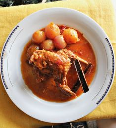 Rabbit Stifado with pearl onions. Rabbit Stifado with pearl onions a combination of sweetness with exotic spices such as cinnamon in an otherwise savory dish. Rabbit Stew, Little Kitchen, Fresh Bread, Savoury Dishes, Tomato Sauce, Cinnamon Sticks, Onions, Curry, Spices