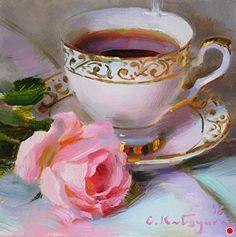 Pink Rose Dream by Elena Katsyura Oil ~ 6 in x 6 in
