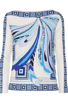 Shop on-sale Emilio Pucci Printed silk-jersey top. Browse other discount designer Tops & more on The Most Fashionable Fashion Outlet, THE OUTNET. Designer Clothes Sale, Discount Designer Clothes, Fashion Prints, Fashion Textiles, Mixing Prints, Emilio Pucci, Top Pattern, Fashion Outlet, Blue Tops