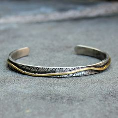 Sterling Silver Gold Cuff -  Rustic Silver and Gold Cuff Bracelet