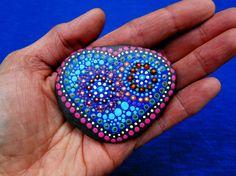 Hand painted mandala stone, heart mandala on beach stone, painted stones, dot painting on stone, acrylic painting on beach pebbles, heart