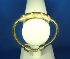 Vintage Selini Gold Tone Metal Pave Rhinestone Bracelet from judysgems on Ruby Lane