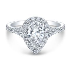 Gorgeous white gold pear diamond halo engagement ring from The One Collection™ only at Wedding Day Diamonds