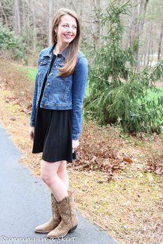 Fitted Denim Jacket, black swing dress and boots!  A great casual look for spring or fall as the seasons change.  More everyday fashion ideas for women over 30 on Running in a Skirt!