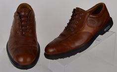 ECCO Hydromax mens Brown Leather Oxford lace up Golf Cleats Shoes 8 41 Pre-owned #ECCO #GolfShoes