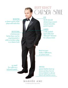 The Great Gatsby STYLE How to Wear a Tuxedo - Leo Edition by Mariee Ami Wedding Planning Studio