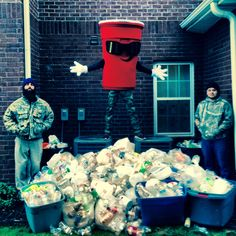 Our property in Denton, TX with 2,619 plastic bottles!