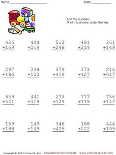 math worksheet : 2 3 or 4 digits mixed operator worksheets  fourth grade  : Make Your Own Addition Worksheets