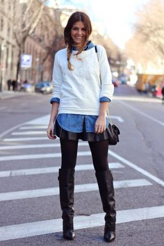 So love this preppy, with slight edge layered look of awesomeness with a dash of denim! :)