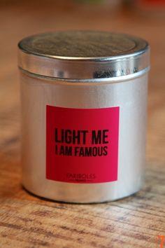 Bougie Fariboles Message LIGHT ME I AM FAMOUS - Décoration de style industriel