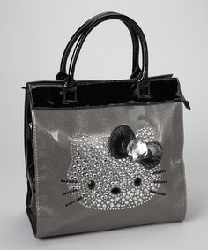 Take a look at this Hello Kitty Silver & Black Rhinestone Tote by Hello Kitty & Harajuku Lovers on #zulily today!