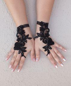 Rose goth gothic lace black Wedding gloves bridal by WEDDINGGloves, $30.00