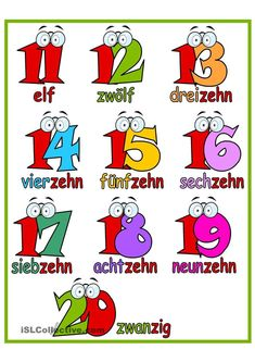 A poster for your classroom to learn the numbers from 11 to German Language Learning, German Words, Vocabulary Worksheets, Learn German, Teaching Activities, Kids Education, Seventeen, Classroom, Amelie