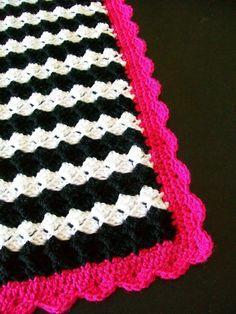 Crochet Baby girl newborn Blanket / Black and White Hot Pink