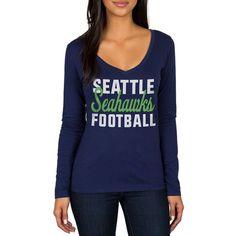 Seattle Seahawks Women's Blitz 2 Hit Long Sleeve V-Neck T-Shirt - Navy