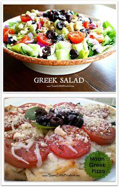 Greek Salad and Naan Greek Pizza