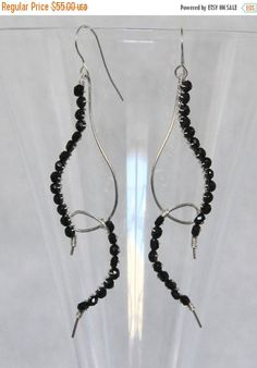 SALE 20% OFF Black Garnet & Sterling Silver Earrings, Long Linear Dangle Shoulder Dusters, Hand Wire Wrapped, Gemstone Beaded Jewelry, Free by AdornmentsAndFrills on Etsy https://www.etsy.com/listing/249615905/sale-20-off-black-garnet-sterling-silver