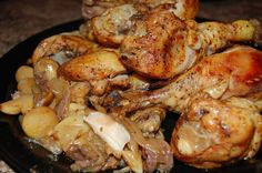 Garlic Chicken in the Crockpot--3-4 lbs of chicken (Large pack of legs ideal.), 1 large onion, sliced, 1 Tbs. olive oil, 2 tsps. paprika, 2 tsps kosher salt, 1 tsp pepper, 20-40 garlic cloved, peeled---Toss onions in bottom of crockpot. In large bowl, mix chicken with other ingredients. Put chicken in crockpot on top of onions. Cook on high for 4-5 hours or low for 7-8 hours. Serve garlic and onions over angel hair pasta; garlic is good smeared on hot bread.