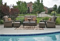 Want!!  The Giovanna Collection All Weather Wicker Aluminum Patio Furniture Deep Seating Set With Loveseat