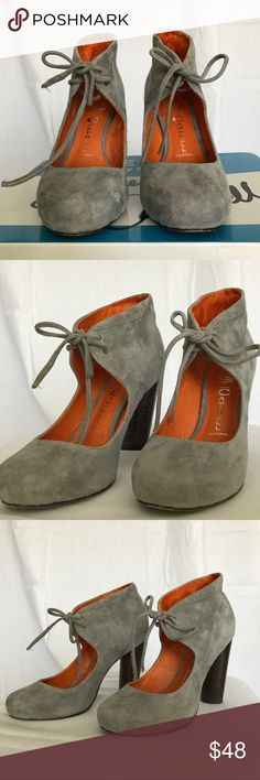 "Jeffrey Campbell Lene Heel Booties Soft grey suede Lene Jeffrey Campbell booties with 4"" stacked wooden heels.  Orange lining. Grey suede laces. Jeffrey Campbell Shoes Ankle Boots & Booties"