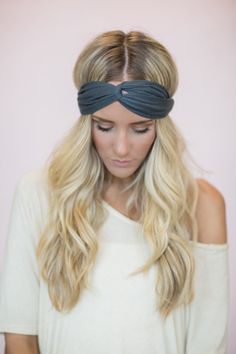 Gray Turban Headband Thin Cute Hair Band for by ThreeBirdNest, $12.00