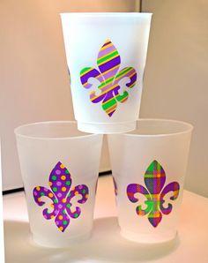 Mardi Gras Pattern Fleur De Lis Frost Flex cups — Party Cup Express