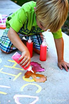 ABC Eruptions - An exciting prewriting exercise with erupting sidewalk chalk paint! Build fine motor skills and learn letter strokes while creating cool eruptions. No vinegar needed!m @ Learn Play Imagine Outside Activities, Alphabet Activities, Educational Activities, Toddler Activities, Learning Activities, Outdoor Preschool Activities, Preschool Literacy, Early Literacy, Kindergarten