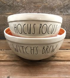 "New Rae Dunn by Magenta Halloween Nesting Bowl Set ~ ""WITCHES BREW"" and ""HOCUS POCUS"""