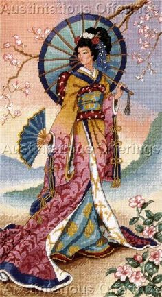 Himsworth Beauty Of The Orient Needlepoint Kit Cherry Blossoms Vintage Rare Needlework Kits - Contemporary Stitchery Crafts Dragon Cross Stitch, Just Cross Stitch, Cross Stitch Art, Cross Stitch Designs, Cross Stitching, Cross Stitch Embroidery, Cross Stitch Patterns, Ribbon Embroidery, Needlepoint Stitches