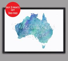 Australia Map Watercolor Turquoise Print Australia Print Australia Home Decor Watercolor Map Travel Map Travel Art Australia Wall Decor Australia Map, Watercolor Map, Map Wall Art, Travel Maps, Free Prints, Paper Texture, All Print, Free Photos, Wall Decor