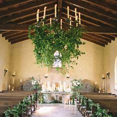 Ceiling, pews, altar (Brooke Keegan Weddings & Events).