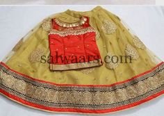 Beige and Orange Net Skirt | Indian Dresses