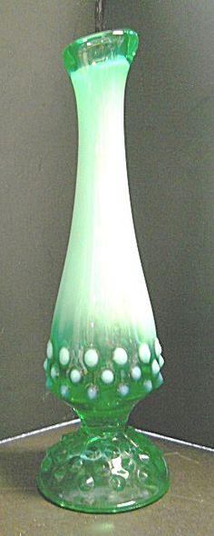 Green Opalescent Hobnail Fenton Vase