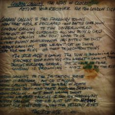Original handwritten lyrics of #LondonCalling