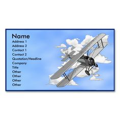 Biplane Business Card Template. Make your own business card with this great design. All you need is to add your info to this template. Click the image to try it out!