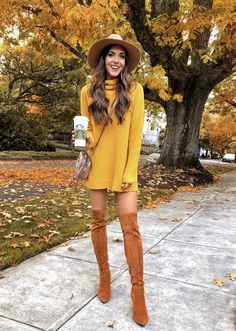 17 Trendy winter street style outfits and outfit ideas to step up your game this., Winter Outfits, 17 Trendy winter street style outfits and outfit ideas to step up your game this fall and winter: Mustard yellow sweater dress with nude wide brim woo. Winter Fashion Looks, Winter Fashion Casual, Casual Winter, Fall Winter Outfits, Autumn Winter Fashion, Dress Winter, Yellow Winter Dresses, Winter Clothes, Winter Wear