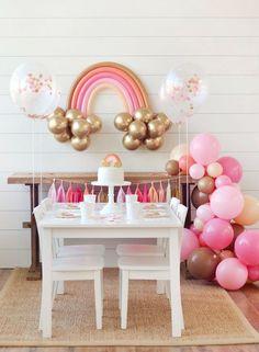 2nd Birthday Party For Girl, Rainbow Birthday Party, Birthday Balloons, Birthday Parties, Diy Garland, Balloon Garland, Party Garland, Balloon Decorations, Birthday Party Decorations