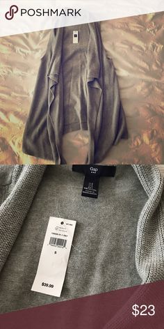 Gap Sleeveless Cardigan Grey Gap sleeveless cardigan. New, never worn. Drapes beautifully in the front and is long enough to cover your bum. Light weight. GAP Sweaters Cardigans