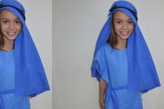 A simple but beautiful costume for Mary in the nativity play. This costume is really quick and easy to make. Here are the instructions for the no-sew Mary nativity costume.