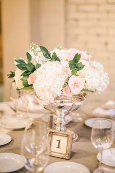 www.preciousandblooming.com www.scottandrewsphotography.com www.testarossawinery.com white roses, garden roses, bridal bouquet, elegant wedding, classic wedding, aisle decor, candles, petals, winery wedding, antique silver, white hydrangeas, place cards